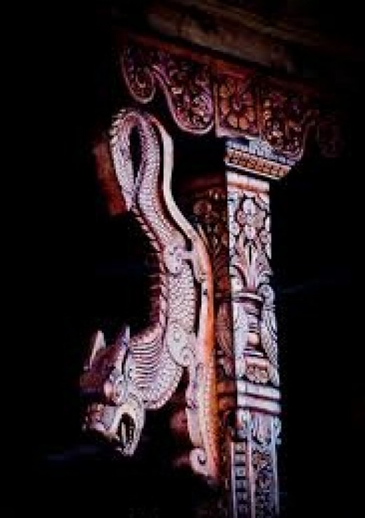 The wood-art on pillars of Hatu Temple near Narkanda at Shimla, Himachal Pradesh.