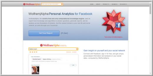 Screenshot of Facebook profile analyzer-Wolfram|Alpha