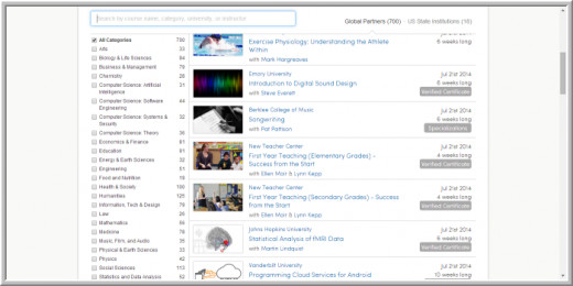Screenshot of list of courses in coursera
