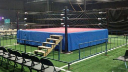 A professional wrestling ring set up for an independent pro wrestling event in North Carolina.