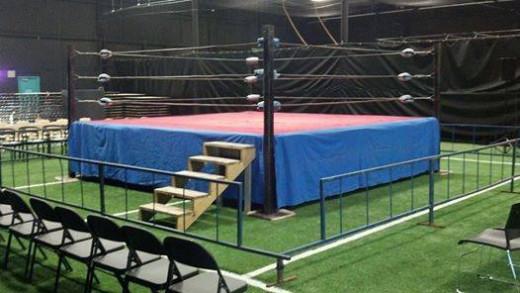 A professional wrestling ring set up for an independent pro wrestling event in North Carolina.