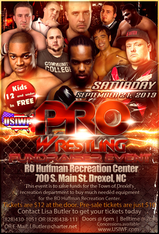 A promotional poster for an independent professional wrestling event in North Carolina.