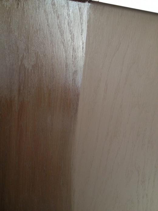 Glazed part on the left