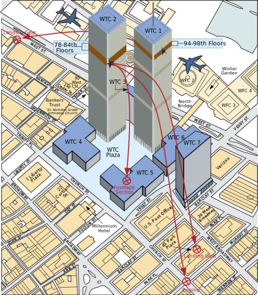 Illustration of the planes trajectory into the WTC Towers
