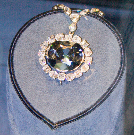 Hope diamond mounted on platinum. Discovered: before 1668; The gem was cut several times between 1668 and 1958