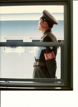 A North Korean soldier at Panmunjom.  The Armband indicates he is on duty. 1985.