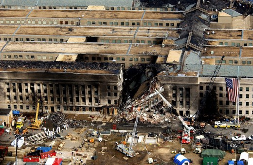 The Pentagon during rescue operations after the terrorist attack.