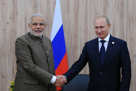 Putin shakes hand with Modi at the 6th 6th BRICS summit, 2014