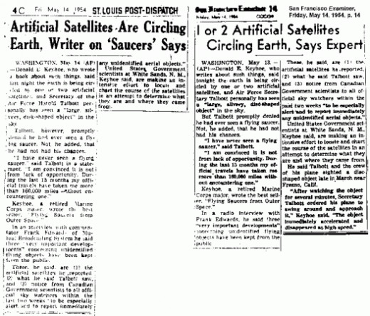 Two media about the Black Knight phenomenon from 1954.
