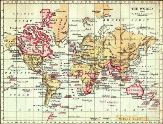 British Empire shown in red