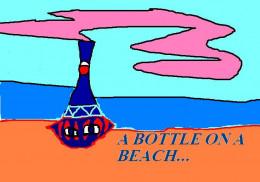 An astronaut finds  a mysterious bottle on a beach.