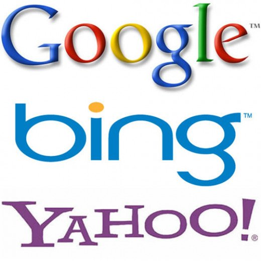 Google, Bing and Yahoo are the major search engines in internet