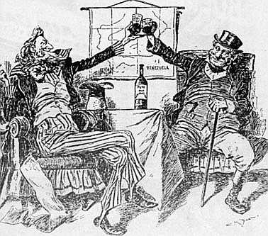 An 1896 cartoon from an American newspaper, following Britain's agreement to go to arbitration. Uncle Sam and John Bull toast in front of a map of Venezuela.