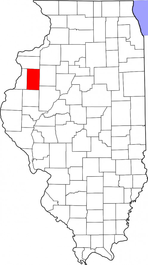 Map highlighting Warren County on Map of Illinois
