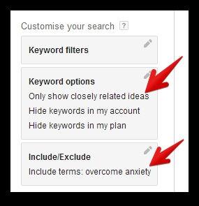 Keyword filters in Google adwords tool