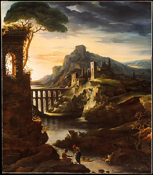 Evening: Landscape with an Aqueduct Théodore Gericault (French, Rouen 1791–1824 Paris)