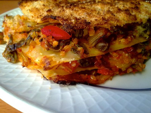 Cooked and right from the oven veggie lasagna ready to serve to your family or friends.