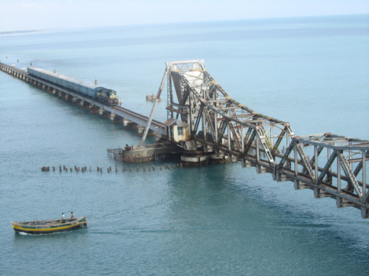 Railway bridge over the Indian ocean at Rameshwaram. Indian Railways