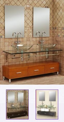 Modern Bathroom Vanities in Glass and Stainless Steel