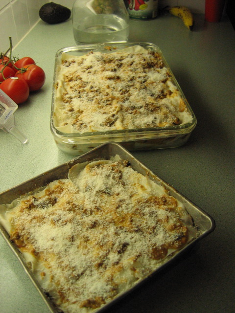Here are two dishes of home made lasagna that needs to now be baked in the oven to cook so your family and friends enjoy the really hot cooked dishes. Hope enjoy them.