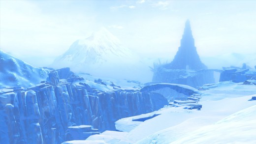 (1 of 2) Hoth, the Ice planet. A large spire visible in the distance.