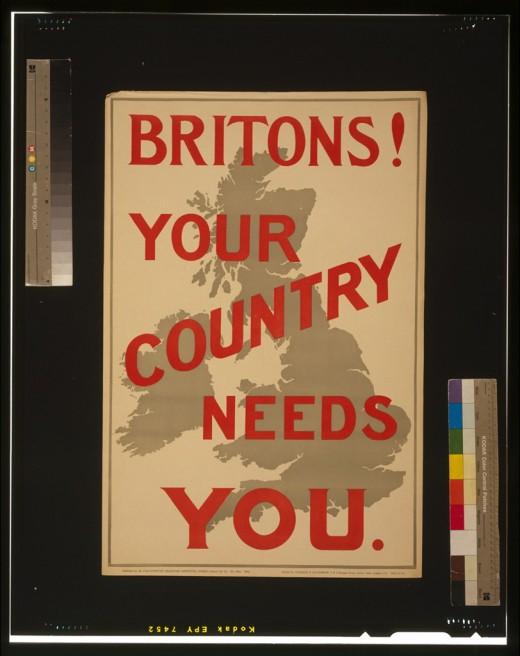 Posters appeared all over Britain asking for volunteers to fight for their country.
