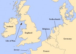 Location of Isle of Man in relation to Great Britain and Europe