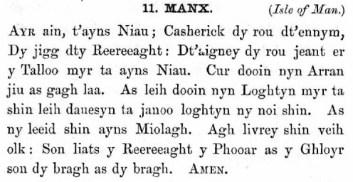 Indo-European and Celtic Manx language.