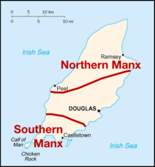 Map of the Isle of Man showing the two areas and dialects of the Manx language.