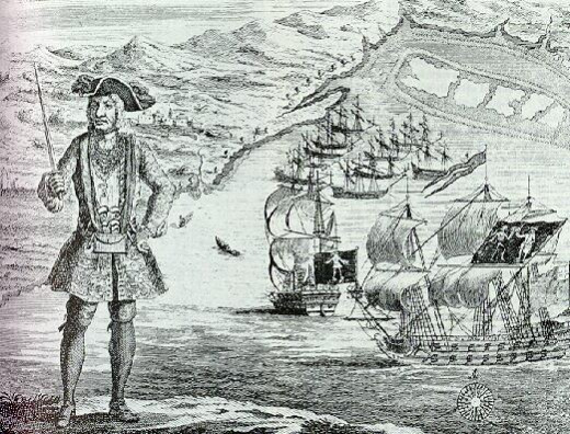 Bartholomew Roberts (1682-1722)was the pirate with most captures during the Golden Age of Piracy. He is known for hanging the governor ofMartiniquefrom the yardarm of his ship.