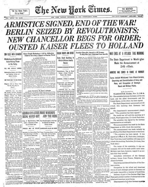 On the eleventh hour of the eleventh day of the eleventh month 1918 the Armistice was signed bringing an end to hostilities.