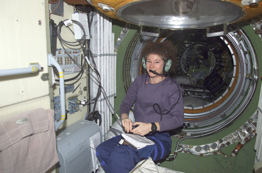 Amateur radio at international space station. Susan J. Helms, Expedition Two flight engineer, talks to amateur radio operators on Earth from the HAM radio workstation in the Zarya module of the International Space Station (ISS).