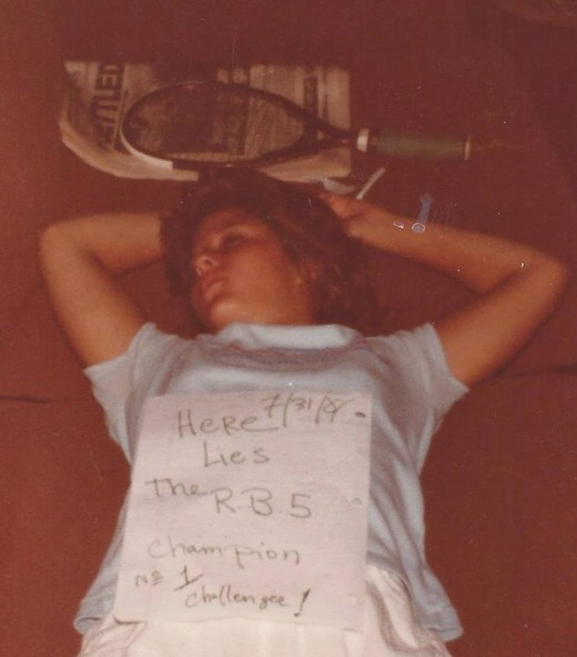 "When you're young you can sleep anywhere.  The caption says, ""7/31/81, Here lies the RB5 challenge, No 1 champion."