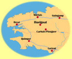 Map of Finistère, clearly showing the 3 peninsulars and Huelgoat