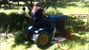 The mower operator can often mow over unseen objects that will be projected out of the mower opening.