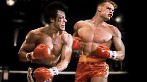 Rocky went to war with Ivan Drago after Drago killed Apollo Creed in the ring in Ameria. It was an all out war with both men getting cut, bruised and knocked down.