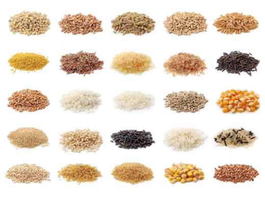 This picture shows the different types of whole grains. There are a variety whole grains with different nutrition profile, price, taste, etc.