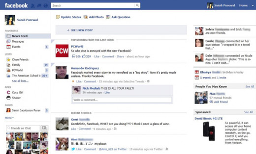 Facebook's News Feed design as of 2014