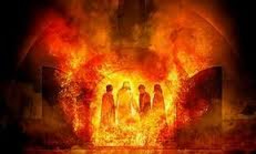 The three hebrews inside the fire