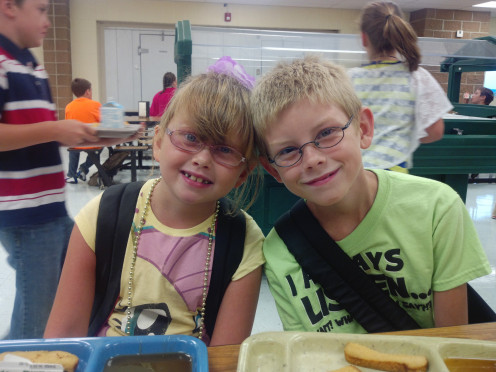 Here is Jackson and Alana on their first day of school is August of 2013.  They are both currently being homeschool, though.