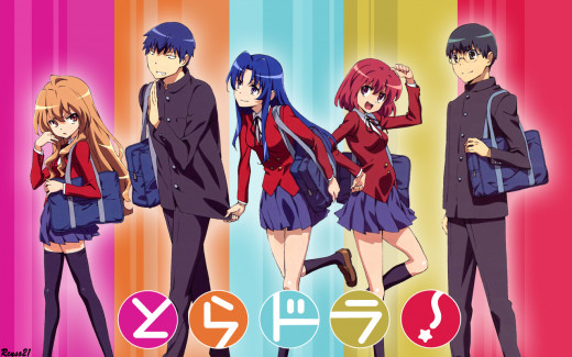 The main cast of Toradora! from left to right: Taiga Aisaka, Ryuji Takasu, Ami Kawisama, Minori Kushieda, and Yusaku Kitamura