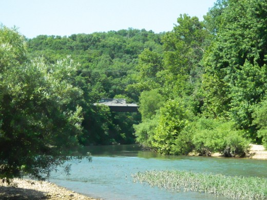 Looking upstream to Highway 65 bridge over Buffalo River
