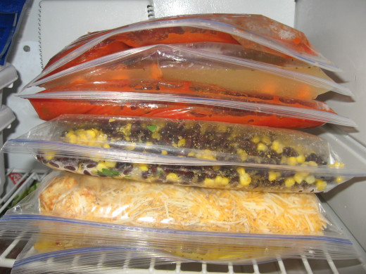 Step 9: Freeze the bags horizontally.  You can do this in a large stack or smaller stacks.
