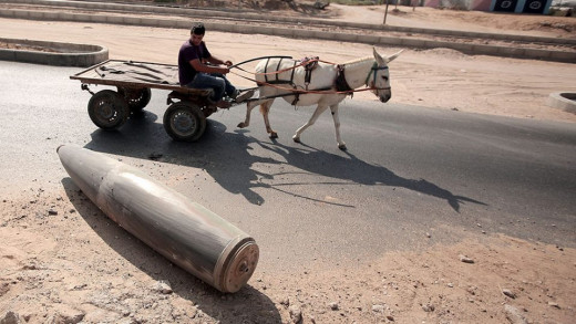 An Israeli shell in Gaza.