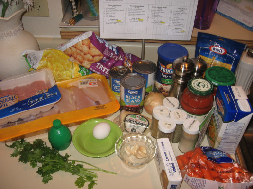 Step 3: Gather all the ingredients you'll need.  Note the recipes on one page hanging by the ingredients.