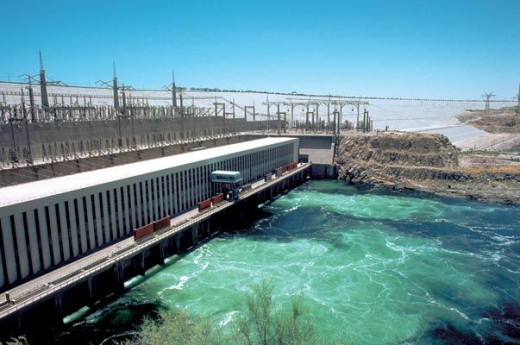A power plant at Aswan Dam. The dam provides energy from the Nile, but controls its flooding and prevents droughts.