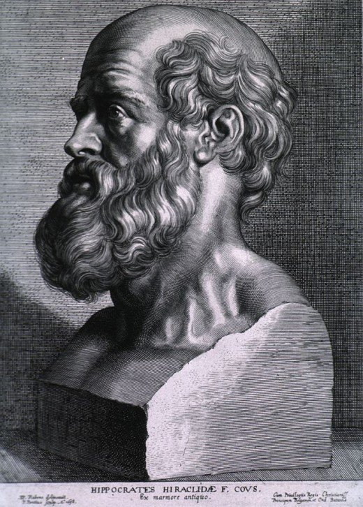 Engraving of Hippocrates by Peter Paul Rubens.