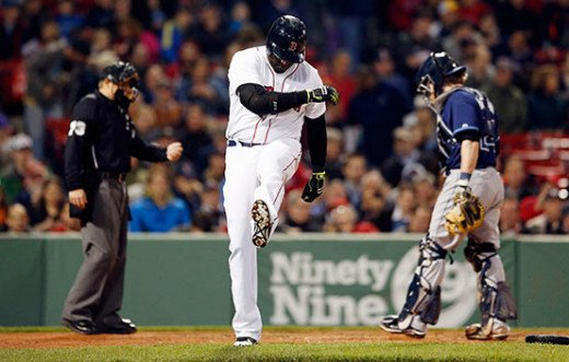 David Ortiz kicks the dirt out of frustration during a losing streak earlier this season