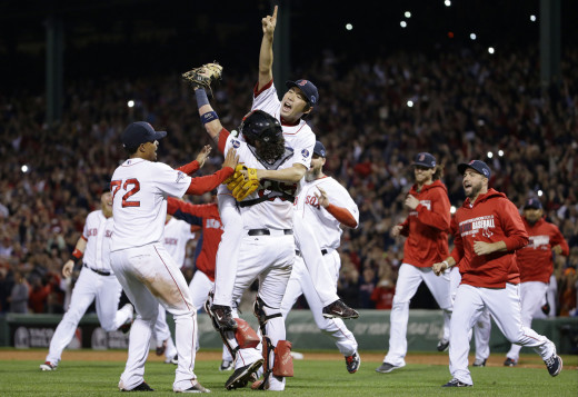 Koji Uehara and the Red Sox celebrate their 2013 World Series Championship