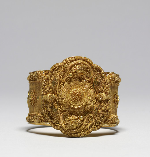 French - Cannetille Ware Bracelet - Walters- This is an excellent, rather sumptuous example of cannetille work, which is more generally found in brooches or parures. The gold is of an attractive warm color suggesting some iron was used in the alloy..
